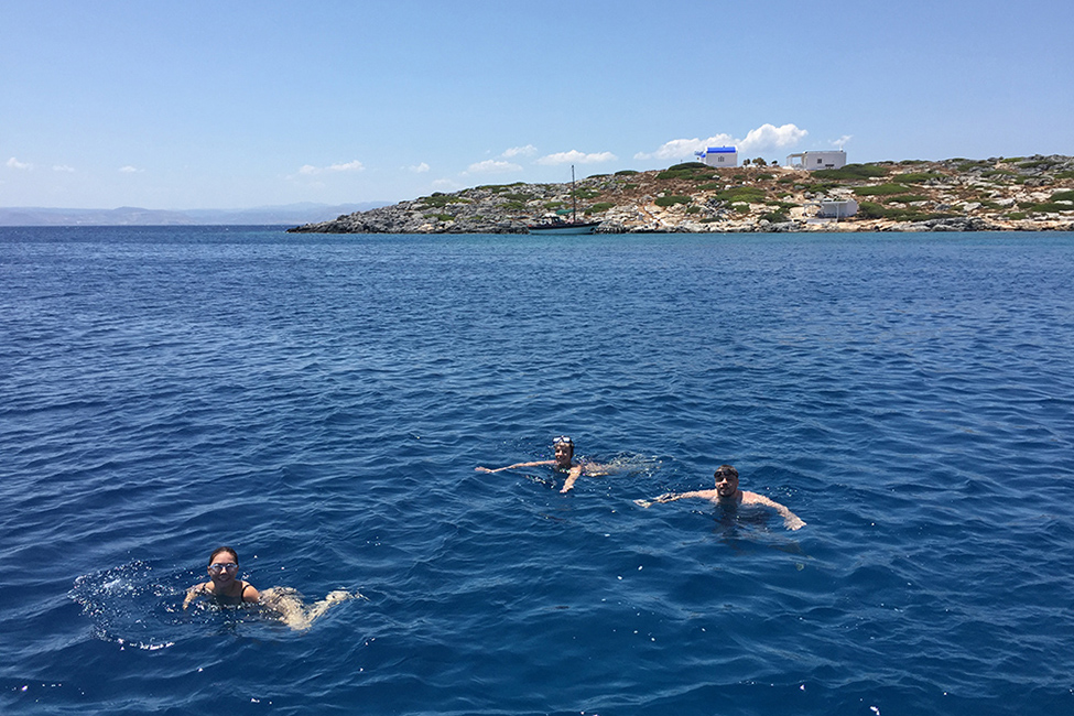 Crete cruise swimming in crystal clear waters